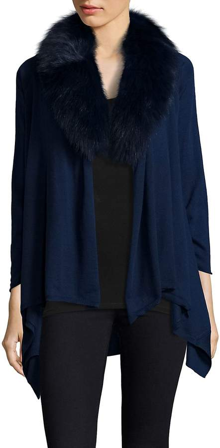 Alice + Olivia Women's Izzy Fur-Collar Cascade Cardigan - Navy, Size xs [x-small]